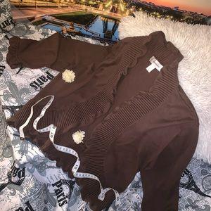 dressbarn brown ruffled open front croppedCardigan